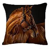 "Challyhope Creative Pillow Cover Fashion Cartoon Animal Horse Home Decor Cotton Linen Cushion Case (18""x18"", D)"