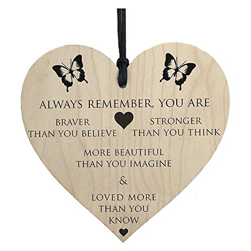 Color Flutes Custom (Home Wooden Plaque - You are Braver Stronger Smarter & Beautiful Wooden Hanging Heart Friends (Khaki))