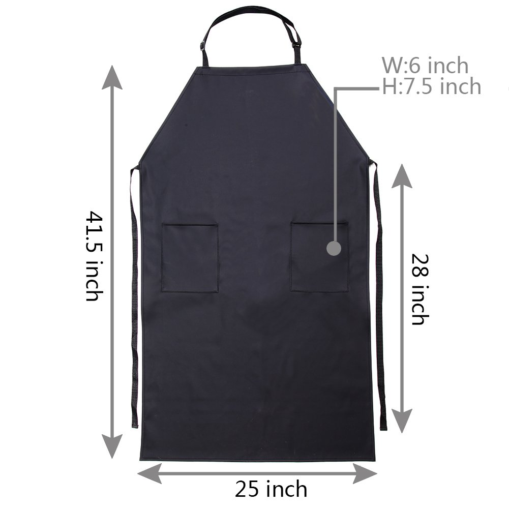 Adjustable Bib Waterproof Apron with 2 Pockets,Long Cooking Aprons for Men Women Chef, Black Commercial Restaurant and Home Kitchen Apron By VWELL by VWELL (Image #7)