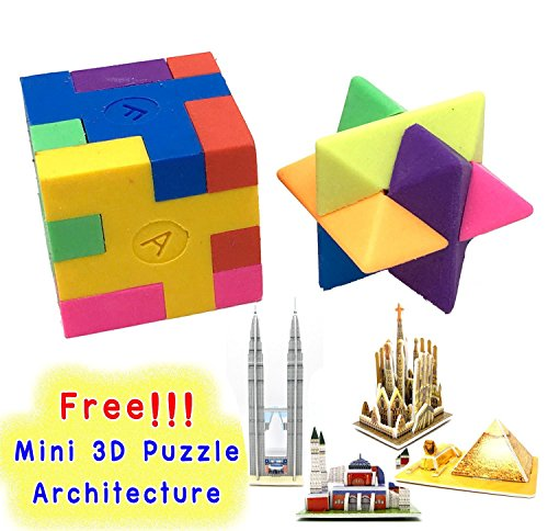 Cube Puzzle Eraser, 3 Styles Mini Colorful Geometric 3D Shape Cube Puzzle Pencil Rubbers Building Blocks Erasers Photo #7