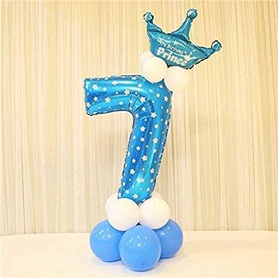Globos de papel de aluminio con corona para fiesta de cumpleaños. Números 0 al 9 7 azul