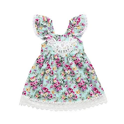 Girls Straps Lace Baby Floral Girls Sleeveless Dress Baby Green Princess Skirt Haoricu Summer Dresses 6T Ruffles Toddler Green Kids WOYvnzqH