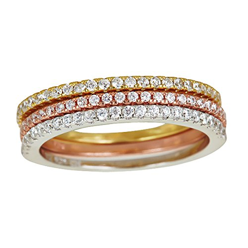 Decadence Women's Sterling Silver Tricolor Stack Ring, 8