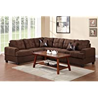 Sectional with Accent Pillows in Chocolate Plush Michrofiber by Poundex