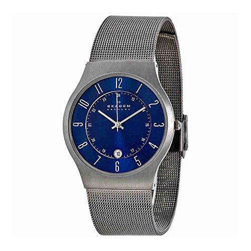 Skagen Titanium Watch - Skagen Men's Grenen Quartz Titanium and Stainless Steel Mesh Casual Watch, Color: Grey (Model: 233XLTTN)