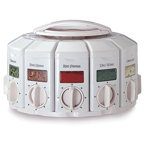 KitchenArt 25000 Select-A-Spice Auto-Measure Carousel Professional Series, White Jar Spice Carousel