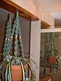 LOT 2 Macrame Plant Hangers Sage Beads Made in USA For Sale