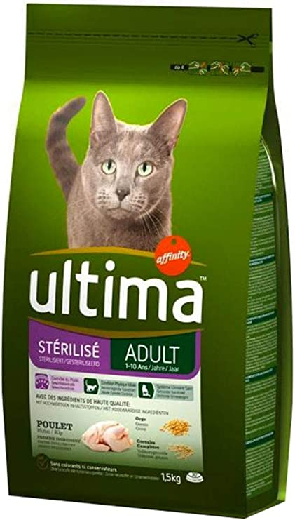 Ultima Esterilizados 1,5 Kg De Pollo Seco del Gato Adulto (Set ...