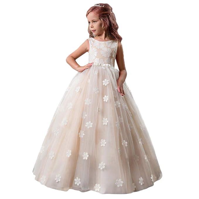 ff5622650fa1 OBEEII Abiti da Cerimonia Senza Maniche Abito da Tulle con Ricamo a Fiori  Eleganti Vestito da Sposa Sera Prima Comunione Damigella Bambina per  Ragazze 5-13 ...