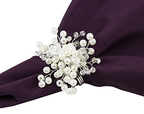 (Fennco Styles Elegant Pearl Collection Wedding Special Event Table Napkin Rings - Set of 4 (Glass Beads Pearl Snowflake))