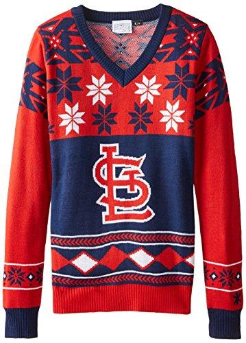 FOCO St. Louis Cardinals Womens Big Logo V-Neck Sweater (Logo V-neck Sweater)