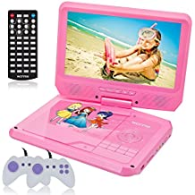 9.5 Inch Portable DVD Player for Car with Games Function for Kids, USB/SD Slot (Pink)