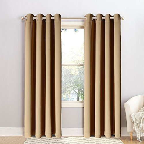Maevis Blackout Curtains 2 Panels for Bedroom Window Treatment Thermal Insulated Solid Grommet Blackout Drapes for Living Room (Brown, 52*95inch)