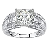10K White Gold Square Cut Cubic Zirconia Engagement Anniversary Ring