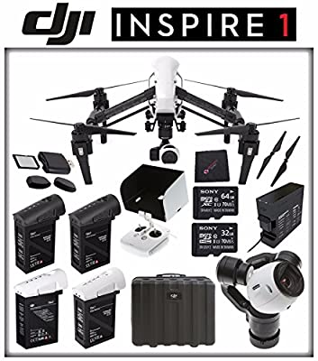 DJI Inspire 1 v2.0 Quadcopter with 4K Camera and 3-Axis Gimbal + DJI TB47 Intelligent Flight Battery + DJI Battery Charging Hub + DJI 1345T Quick-Release Props + Sony 32GB Card + Sony 64GB Card Bundle