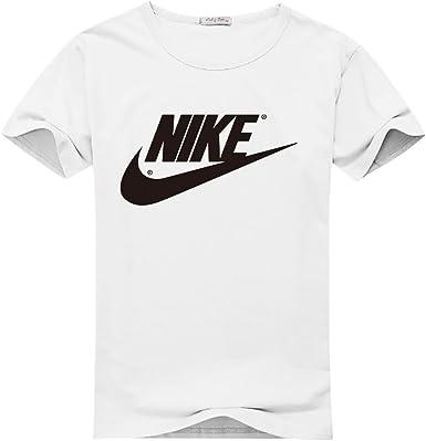 Logotipo de Nike personalizado de hombre clásico de algodón T-Shirt, X-Large,White,Multicolored, X-grande, blanco , multicolor: Amazon.es: Deportes y aire libre