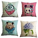 Nunubee Bear Cotton Linen Pillow Covers 18 x 18 Pillowcases Throw Pillows Case Cushions For Sofa (4pcs Set)