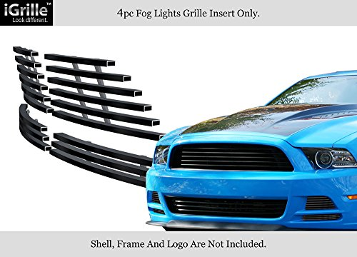 APS Compatible with 2013-2014 Ford Mustang GT Stainless Steel Black Fog Light Billet Grille S18-J72956F