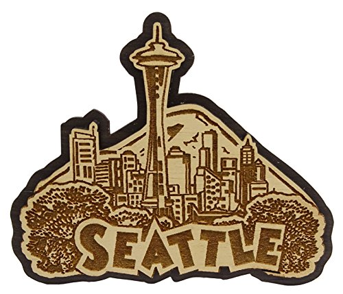 Seattle Wood Engraved Fridge Magnet Souvenir Gift (Gift Delivery Seattle)