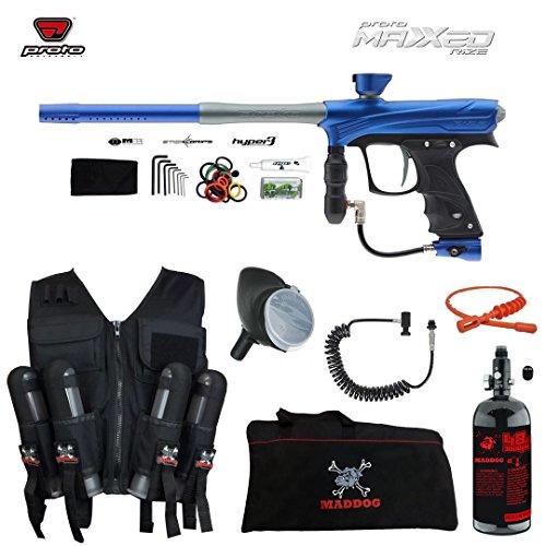 MAddog Proto Rize MaXXed Lieutenant HPA Sport Vest Paintball Gun Package - Blue/Grey (Trigger Proto Rail)