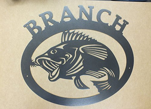 Large Mouth Bass Personalized Family Name Sign Cabin Man Cave Bar Fishing Sign Made IN USA Metal Wall Art Welcome Sign Steel Wall Art 23 in wide by 20.75 in tall Fishing