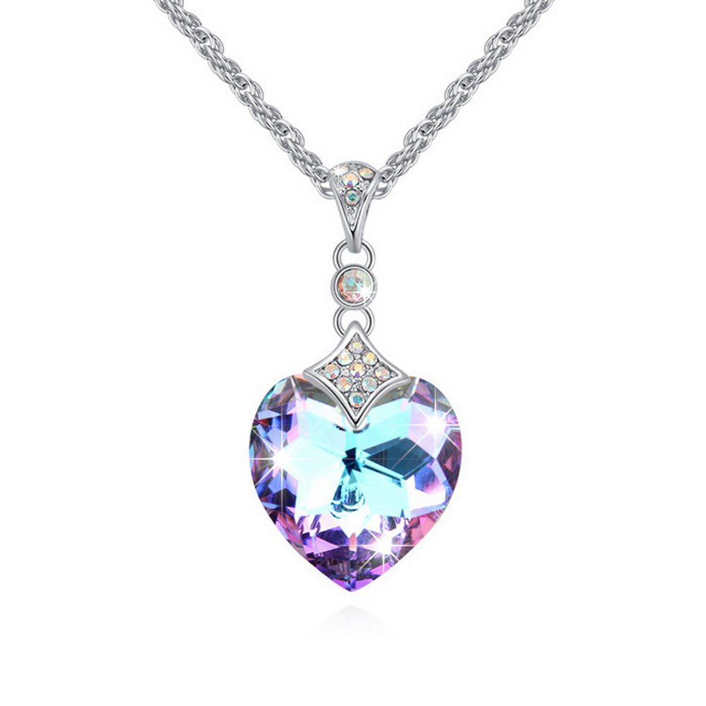 2d53b679a4d76 Amazon.com: Alvdis Ultimate Love Heart Purple Crystal Necklace ...