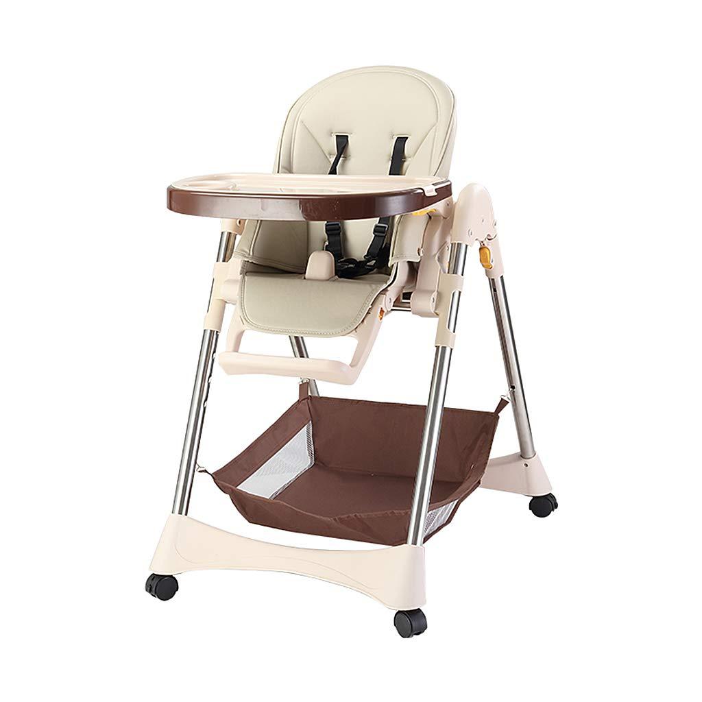 取り外し可能な幼児を食べるためのポータブル赤ちゃん高い椅子のブースターシート椅子、車輪付き調節可能なベビーチェア (色 : ベージュ)  ベージュ B07G4D7WK5