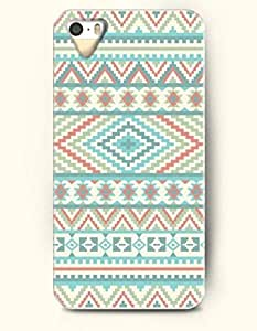 OOFIT Aztec Indian Chevron Zigzag Pattern Hard Case for Apple iPhone 4 4S Blue Beautiful Aztec Tribal Patten