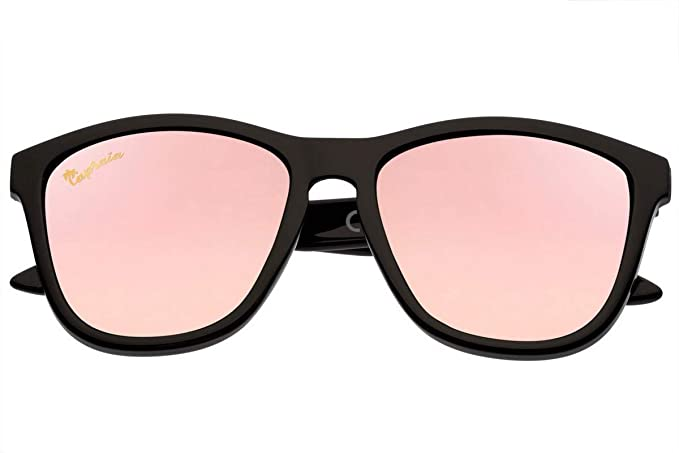 Capraia Durella Estilosas Gafas de Sol Ultra Ligeras Alta Calidad TR90 Montura Negra Lentes Rosas Espejadas Polarizadas protección UV400 Hombres ...