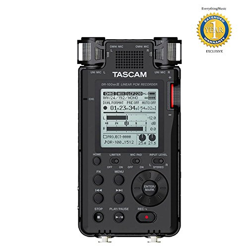 tascam-dr-100mkiii-24-bit-192-khz-linear-pcm-recorder-with-1-year-free-extended-warranty