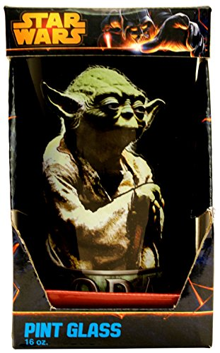 Silver Buffalo SW75031P Star Wars Yoda Pondering Pint Glass, - Yoda Glasses With
