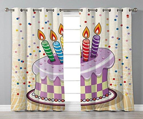 Satin Grommet Window Curtains,Birthday Decorations,Creamy Cake Illustration with