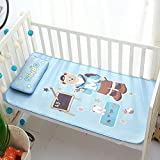 Baby Summer Cool Mat Baby Bed Pad with Pillow Set, Breathable Ice Silk Sleeping Crib Mattress for Newborn Toddler Bed 43.5×25.5 Inches