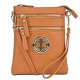 Lady Small Crossbody Bag Purse Lightweight Multi Pocket Shoulder Bag Messenger Bag Faux Leather Tan