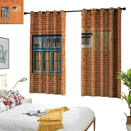 Warm Family Fabric Shower Curtain Liner Industrial,Discarded Ruin with Old Windows and Wall Aged Construction in Suburbs Print, Multicolor 72
