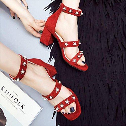 Remaches Sandalias Rosario Deducción Tamaño de mujer a Pentagram Roma Zapatos Red 41 Heel Block Ante Vestir 35 IwqXCxI1
