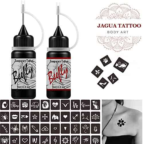 Jagua Temporary Tattoos Kit, Semi Permanent Freehand Ink/Paste, DIY Tattoos Temp for Kids Women Adults(Organic Jagua Tattoo)24 Pcs Free Adhesive Stencils, For DIY Tattoo Fake Freckle,Full Kit 2 Color