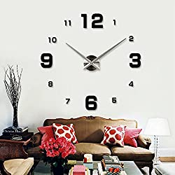Alrens(TM)Arabic Numbers Large Modern Acrylic Mirror Wall Clock DIY Frameless Silent Quartz 3D Big Oversized Clock Living Room Bedroom Office Décor Wall Sticker Home Decoration Removable Decor Art