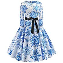 Women's Vintage Long Sleeve Christmas Party Dress with Belt