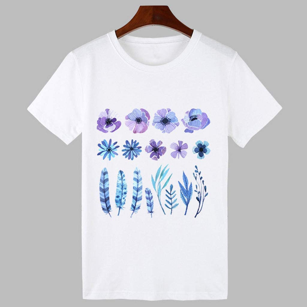 R-GABI Womens Summer Round Neck Gradient Printed Regular Short Sleeve t Shirts Tops