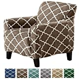 family room furniture Great Bay Home Modern Velvet Plush Strapless Slipcover. Form Fit Stretch, Stylish Furniture Shield/Protector. Magnolia Collection Strapless Slipcover Brand. (Chair, Walnut Brown)