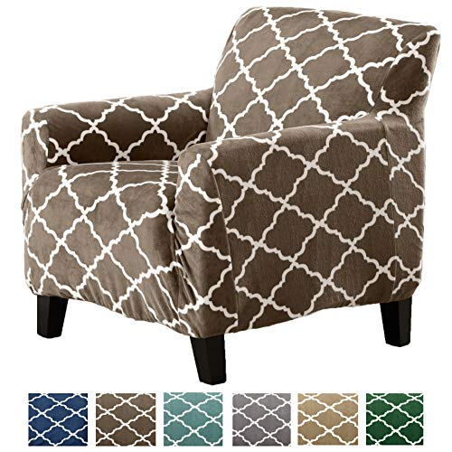 Great Bay Home Modern Velvet Plush Strapless Slipcover. Form Fit Stretch, Stylish Furniture Shield/Protector. Magnolia Collection Strapless Slipcover Brand. (Chair, Walnut Brown)
