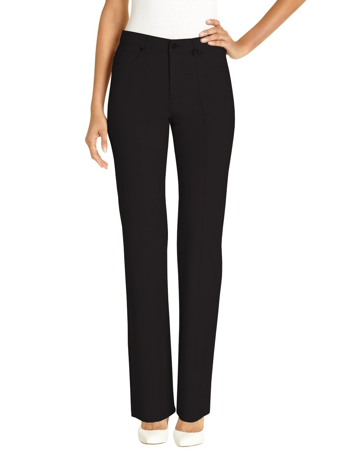 URREBEL pants for womens-Simon Chang Straight Leg Microtwill(Style#3-5302R),Black,Size 10 by URREBEL