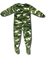 Classic Green Camouflage footed one-piece pajamas for boys