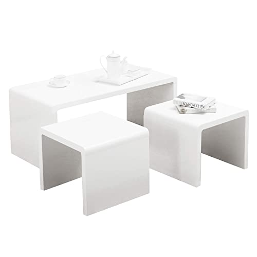 Nest Of 3 High Gloss White Curved Coffee Table Side Tables: White Gloss Coffee Tables: Amazon.co.uk