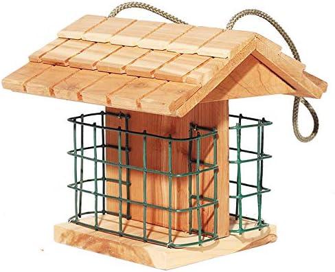 Comedero para pájaros ModelWing, Capacidad para 2 Pasteles de azúcar, comedero para pájaros Silvestres para carpinteros, Madera de Cedro: Amazon.es: Jardín