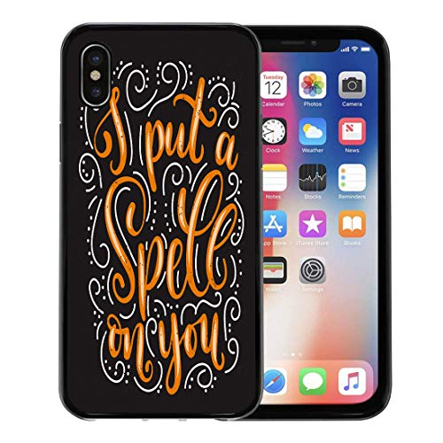 Semtomn Phone Case for iPhone Xs case,I Put Spell on You Halloween Quote Flourishes and Effect Inspirational Phrase Modern Lettering for Party for iPhone X Case,Rubber Border Protective -