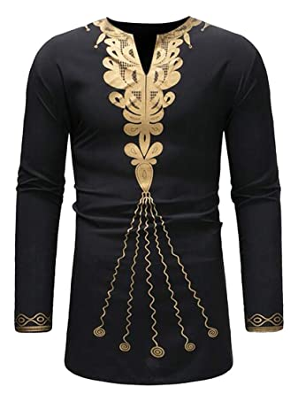 WAWAYA Mens African Print Casual Mid Length Plus Size Long Sleeve Dress Shirt Tops