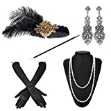 ZeroShop 1920s Accessories Headband Earrings Necklace Gloves Cigarette Holder (Medium, M13)