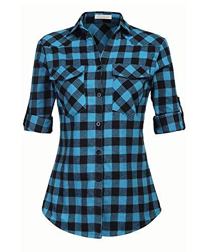 (Genhoo Women's Roll Up Long Sleeve Tartan Plaid Collared Button Down Boyfriend Casual Flannel Shirt Top(Acid Blue,XXL))
